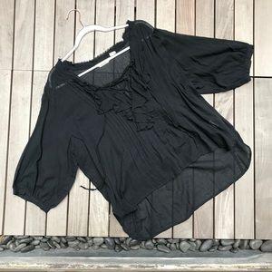 RALPH LAUREN Denim & Supply Black Cotton Blouse